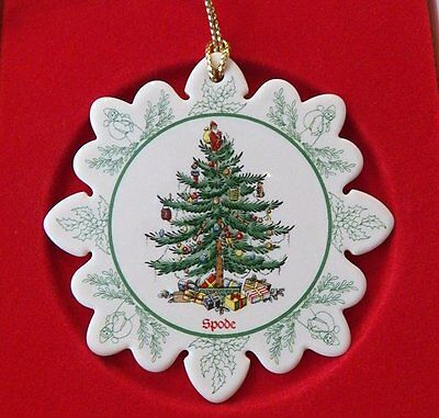 SPODE Christmas Tree Snowflake Ornament New in Box-Porcelain