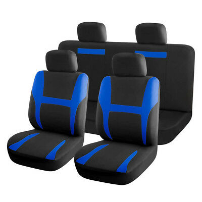 New Car Seat Covers Full Set Blue Black for Auto SUV