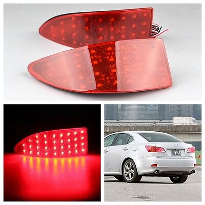 2x LED Lens Rear Bumper Reflector Brake Light XE20 For Lexus IS 250 220d Red