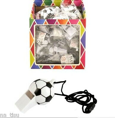 12 Whistle Football Soccer Sports plastic fun toy Party Bags Filler Referee PE
