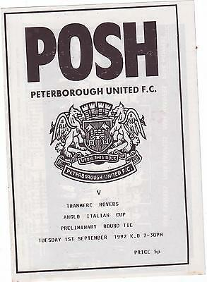 Peterborough V Tranmere 1992 Anglo Italian Cup