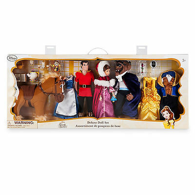 Disney Store Beauty and the Beast Deluxe Doll Gift Set Mrs. Potts Chip & Gaston