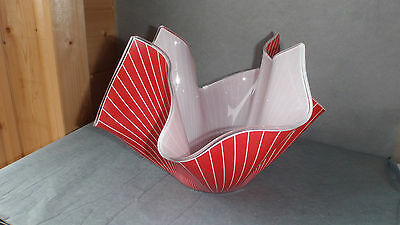 Large Vintage Red Pinstripe Handkerchief Vase 8 - 10 inches