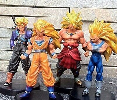 "Dragon Ball Z Super Saiyan 4pcs 5"" Action Figures Set Goku Broly Vegeta Trunks"