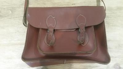 Vintage Brown Leather School Satchel - Messenger Retro