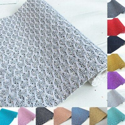 Sparkle Lace Scalloped Chunky Glitter Fabric Vinyl Craft Bow Clips Material
