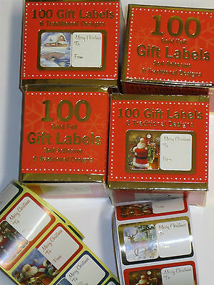 Christmas Present Gift Labels self adhesive traditional or cute mixed 100