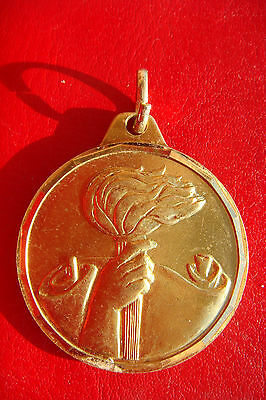 Rare Old Antique Italy Sport Olympic Flame Bronze Medal