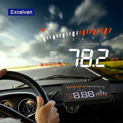 """X5 3"""" Car HUD Heads Up Display OBD II Speed Warning System Fuel Consumption UK"""