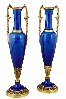 French blue ceramic and bronze pair of vases by Paul Milet for Sevres 1890