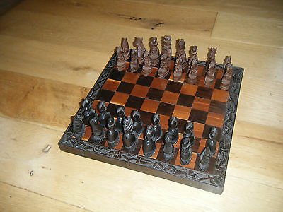 African Hand Carved wooden chess and board set - rare and beautiful