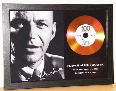 Frank Sinatra Signed Photo And Gold Disc Display