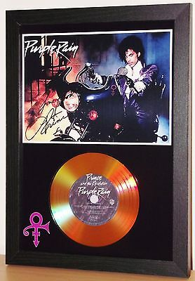 Prince Signed 'purple Rain' Gold Disc Presentation Display