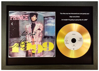 Prince '1999' Signed Photo And Gold Disc