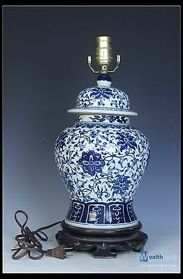 Chinese Beautiful Blue & White Porcelain Table Lamp Pot