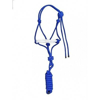 Horse Rope Halter/Headcollar with lead rope blue -one size