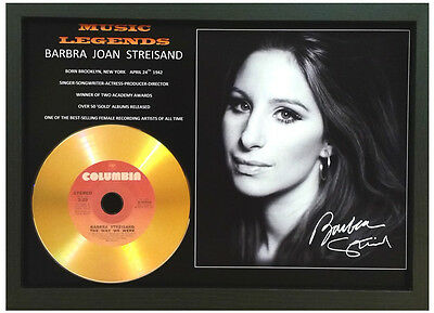 Barbra Streisand Signed Photo With Gold Disc
