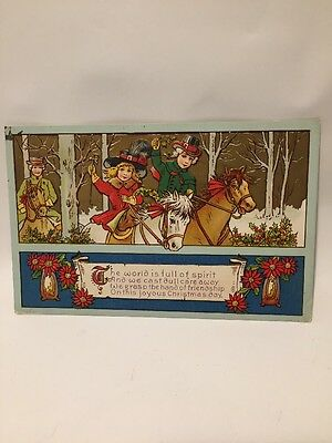 Christmas Postcard Posted 1914 Impressed Gold Horses Children Riding