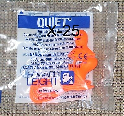 25 New Pair Howard leight QD30 Quiet Reusable Corded Ear Plugs