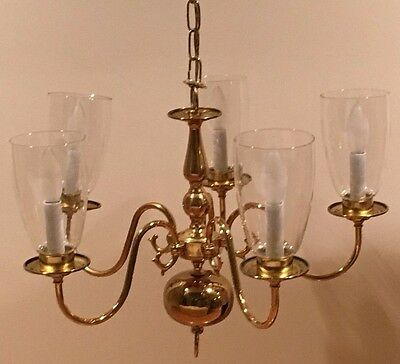 Vintage 5 Arm Brass Chandelier French Styling Ceiling Light with 5 Glass Globes