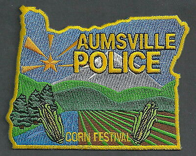 Aumsville Oregon Police Patch State Shaped