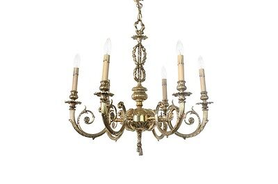 "6 Light Vintage Rustic Brass 24"" Chandelier From Opryland Hotel"