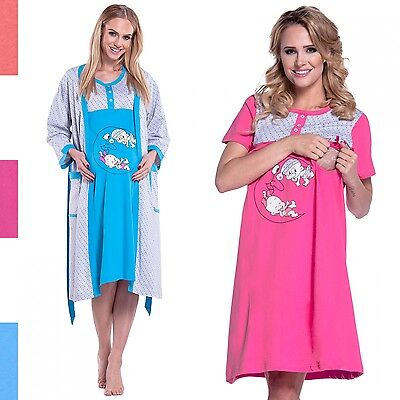 Happy Mama. Women's Maternity Hospital Gown Robe Nightie Set Labour Birth. 202p