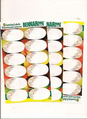 60 Bernardin Canning Jar Labels New Jam Jelly self stick