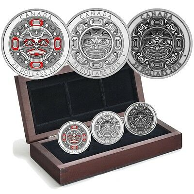 2015 CANADA Silver Ultra-High Relief 3-Coin Set – Singing Moon Mask – 3,000pcs