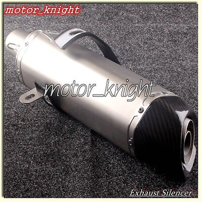 Universal Set Carbon Exhaust pipe end tip Stainless Steel barrel Titanium 300mm