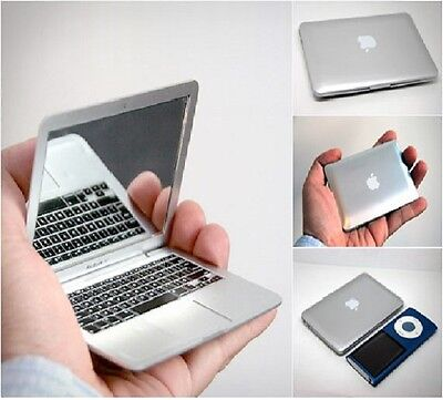 Compact Mirror Silver / White Apple Mac Book Air Laptop Novelty Design Macbook