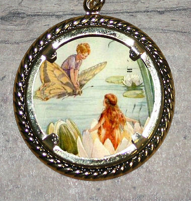 MERMAID & Butterfly FAIRY BOY Art Large Ornament Frame Pendant 4 Necklace