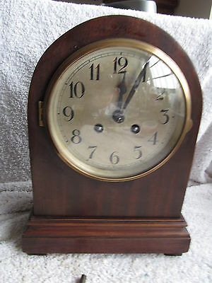 French Arched Chiming Matel  Clock & Key And Working Order