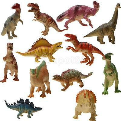 12 Plastic Assorted Dinosaur Figures Jurassic World Animal Kids Party Favors