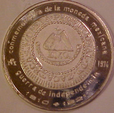 NSDM Mexico 39mm Silver Medal First Coinage of America 1810 Provisional 8 Reales