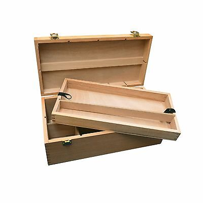 Artists Wooden Storage Box Organizer with Carry Handle & Pull Out Tray