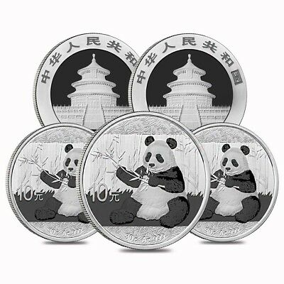 Lot of 5 - 2017 30 gram Chinese Silver Panda 10 Yuan .999 Fine BU