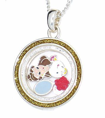 Disney Authentic Necklace✿Floating Memory Locket Beauty Beast Belle Chip Mirror