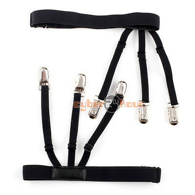1 Pair Mens Useful Stays Holders Shirt Garter Non-Slip Locking Clamps Leather