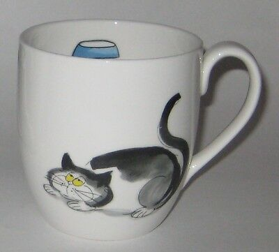 BIG Plump CAT White GREY Black by ROSE of ENGLAND Fine BONE China COFFEE Tea MUG