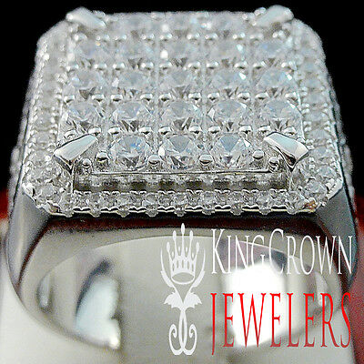 Mens 10K White Gold On Real Silver Genuine Lab Diamond Big Look Pinky Ring Band