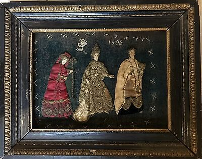 Antique Framed Needlepoint Embroidery Dated 1605 !!