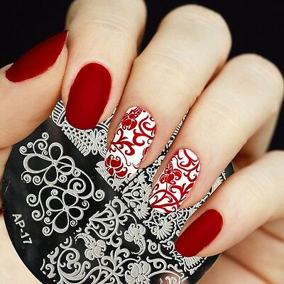 PIASTRA AP NAIL ART NATALE stamping PLATE CHRISTMAS FIORI PIZZO LACE PATTERN