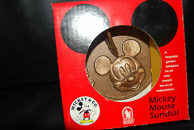 Vtg New Disney Mickey Mouse Bronze Sundial Hand Crafted In Usa White Swan.rare