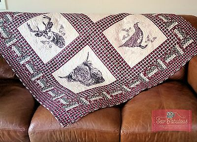 Make this Highland Quilt Featuring Stag, Cattle, Thistle & Grouse Red & Green
