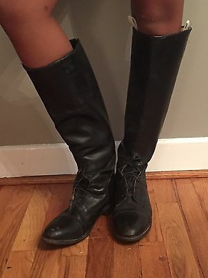 Prime Equestrian Riding Boots Black Leather Tall Biltrite Heel Just Size 10/10.5