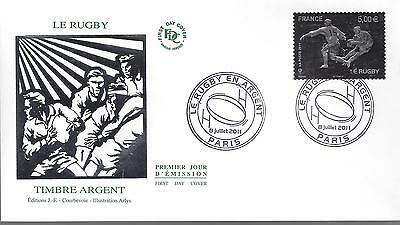 ENVELOPPE 1er JOUR - FDC - AUTOADHESIF N° 597 - TIMBRE ARGENT RUGBY