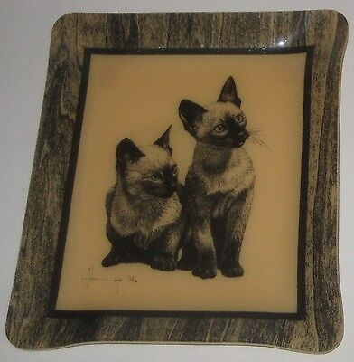 SIAMESE CATS 1970's PICTURE TRAY Vintage HARDY GLENWOOD Handcrafted CANADA
