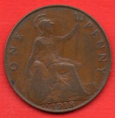1918 Kn George V One Penny Coin. Kings Norton Mint.