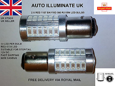 2 x RED 1157 BAY15D 380 P21/5W CAR STOP TAIL BRAKE LED BULBS 33 SMD LAMPS LIGHTS